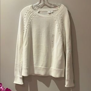 Gap white crew neck cotton sweater women's Large